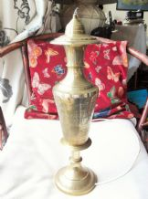 "VINTAGE LARGE SHAPELY ETCHED BRASS LAMP BASE 20"" HIGH GOOD QUALITY WIRING CUT"